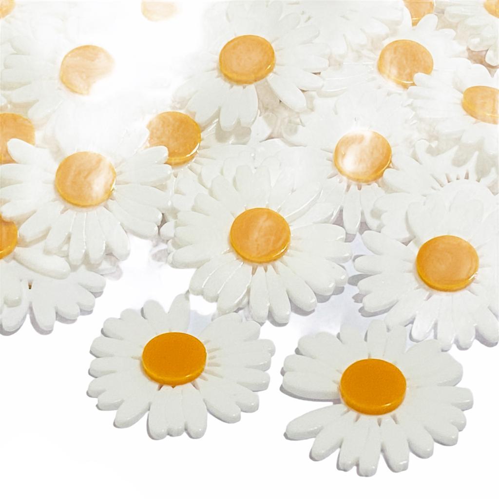 Aplique de Acrilico Flor Bem me Quer Branca