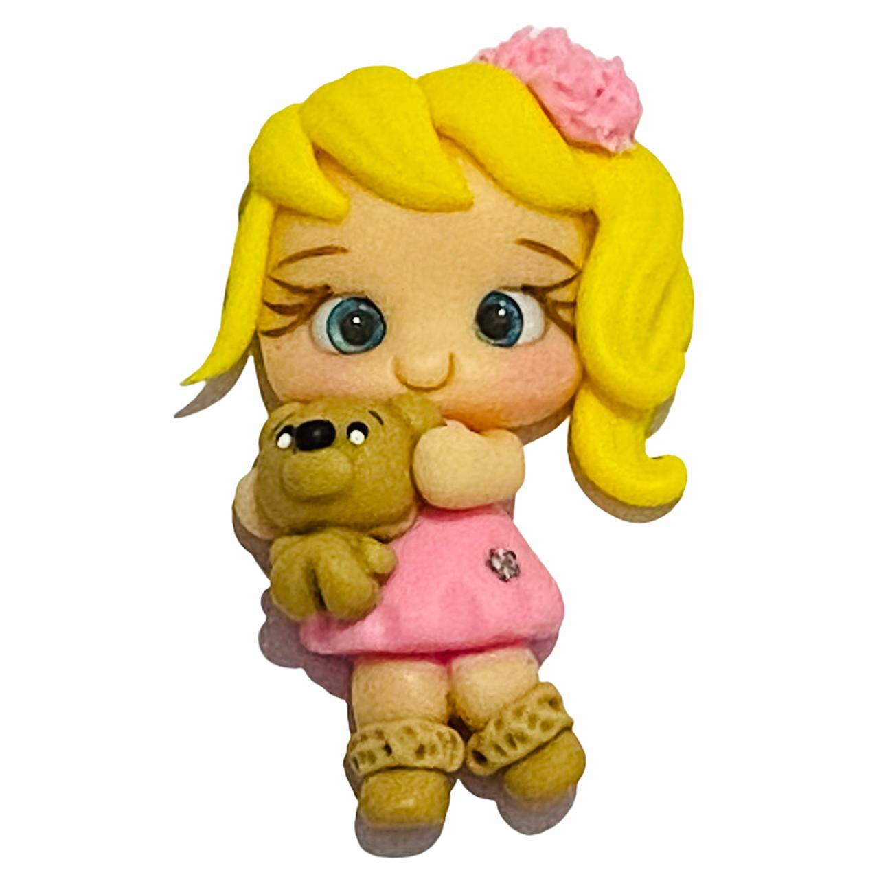 Aplique de Biscuit Menina Vestido Rosa Ursinho
