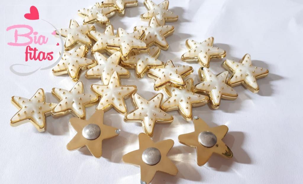 Aplique de Plastico Estrela do Mar Branco P