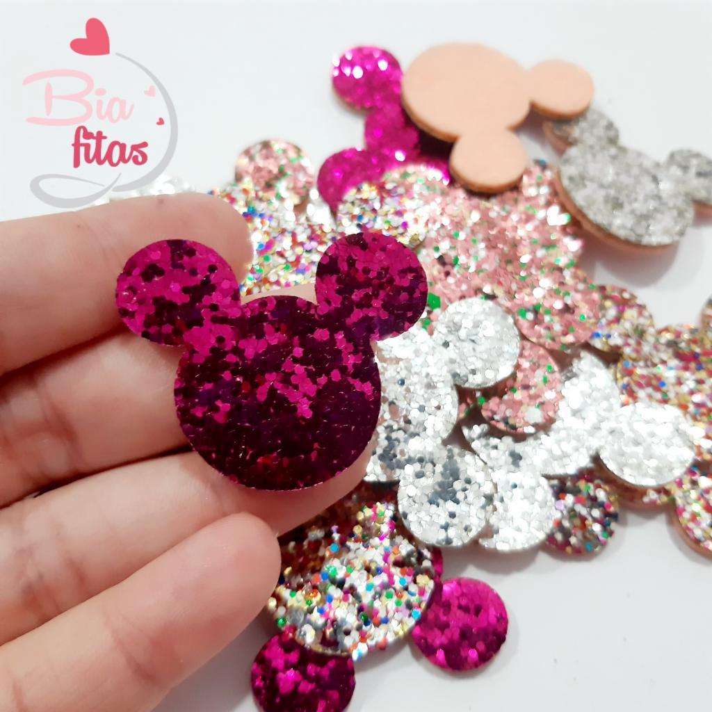 Aplique Mickey Feltro com Glitter Flocado