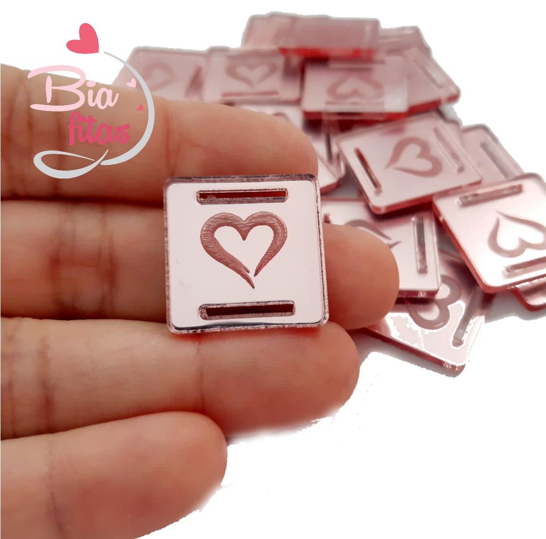 Aplique Passa Fita Coração Rosê