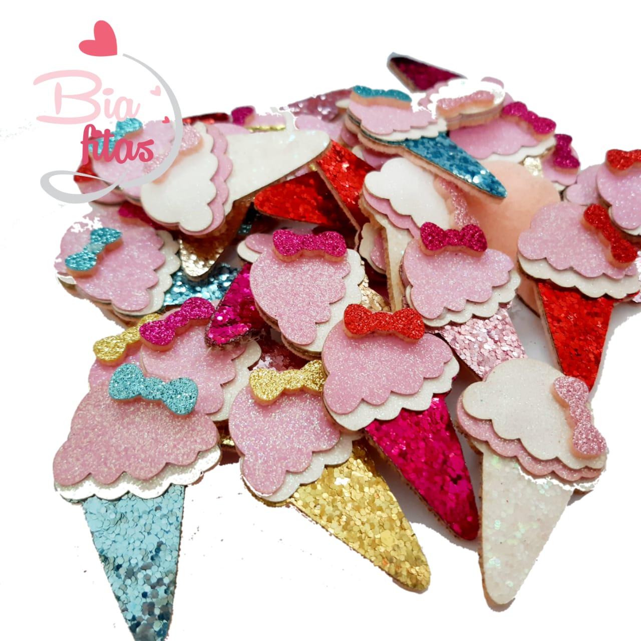 Aplique Sorvete de Feltro com Lonita Glitter Flocado