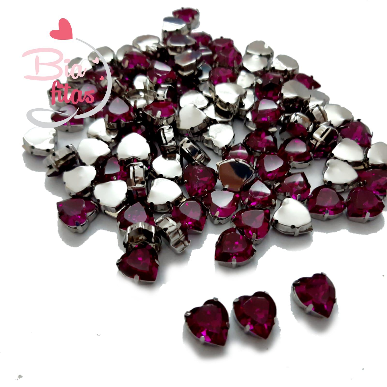 Chatom Pedra com Garras Coração Pink (5unidades)