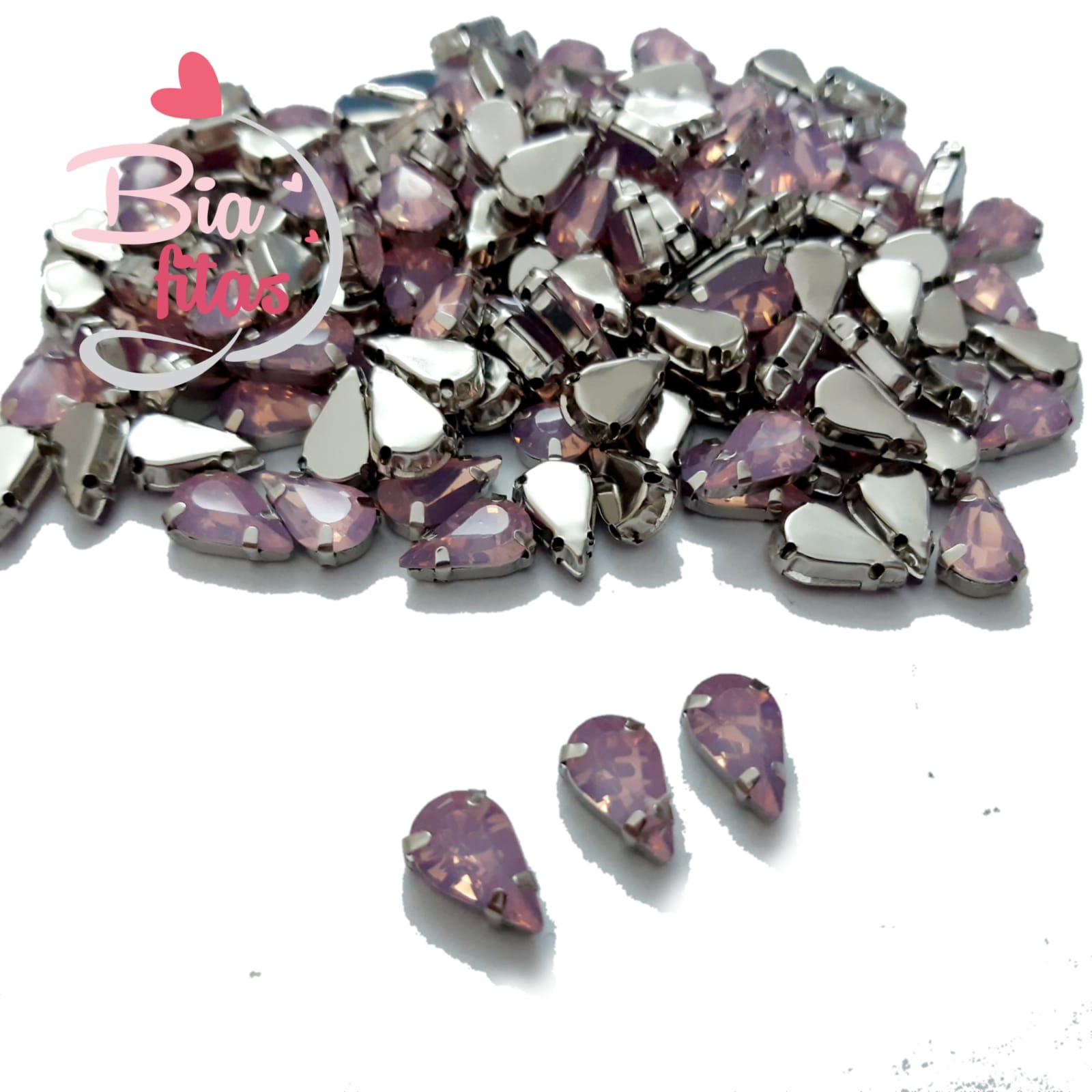 Chatom Pedra com Garras Gota Rosa Claro (5unidades)