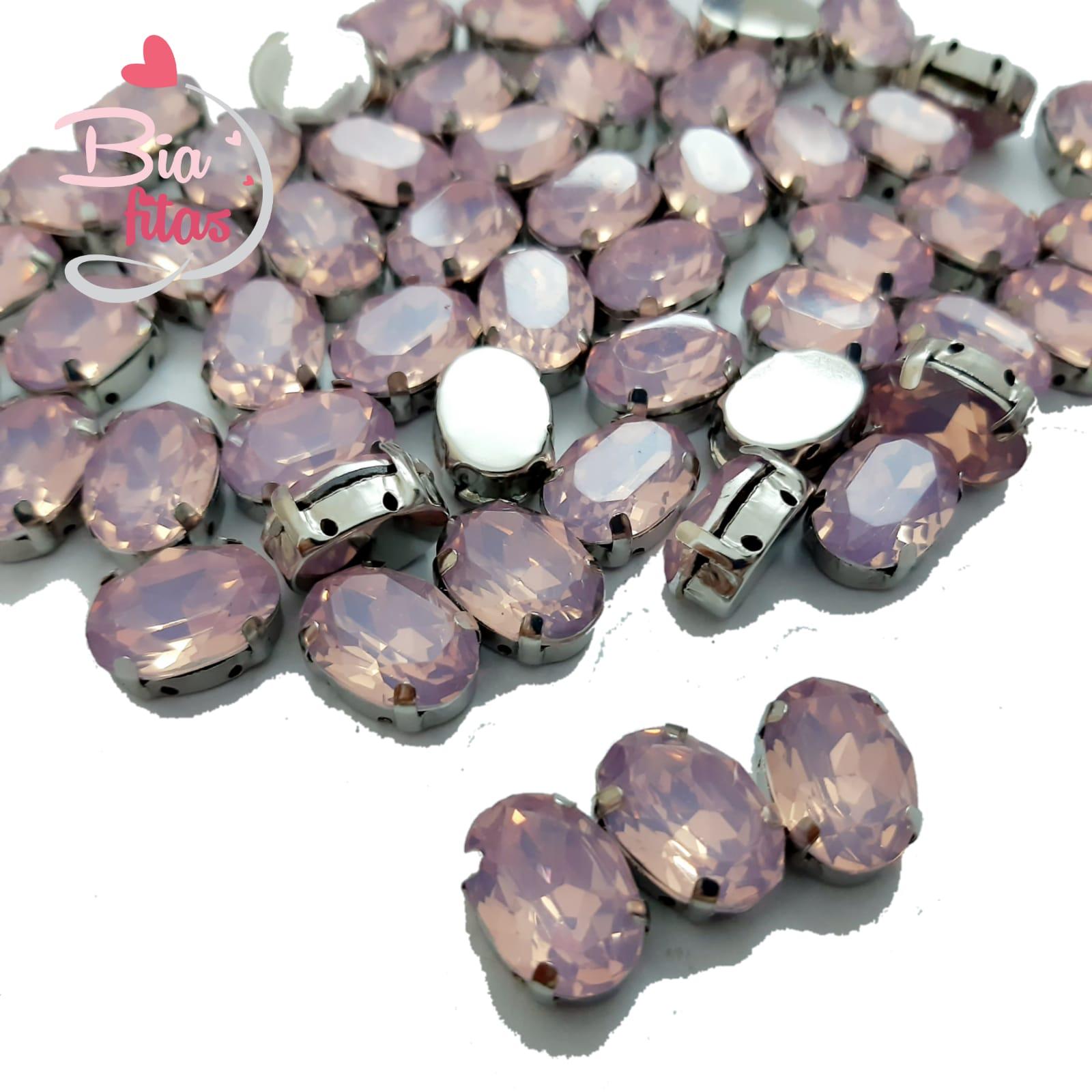 Chatom Pedra com Garras Oval Rosa Claro (5unidades)