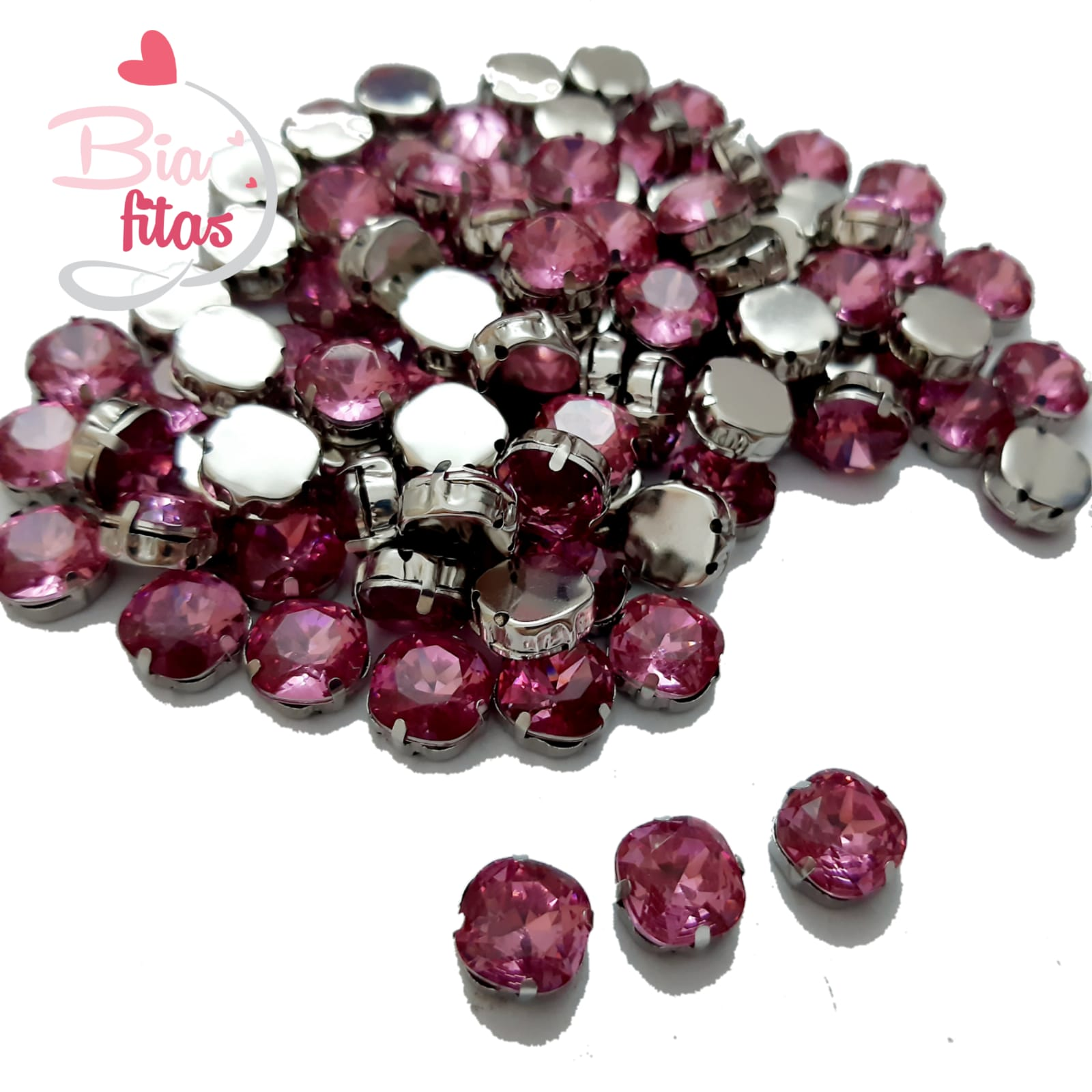 Chatom Pedra com Garras Redonda Rosa (5unidades)