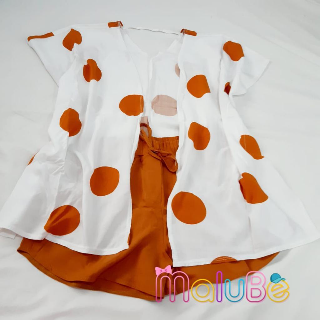 Conjunto Kimono/ Short Poá Marrom
