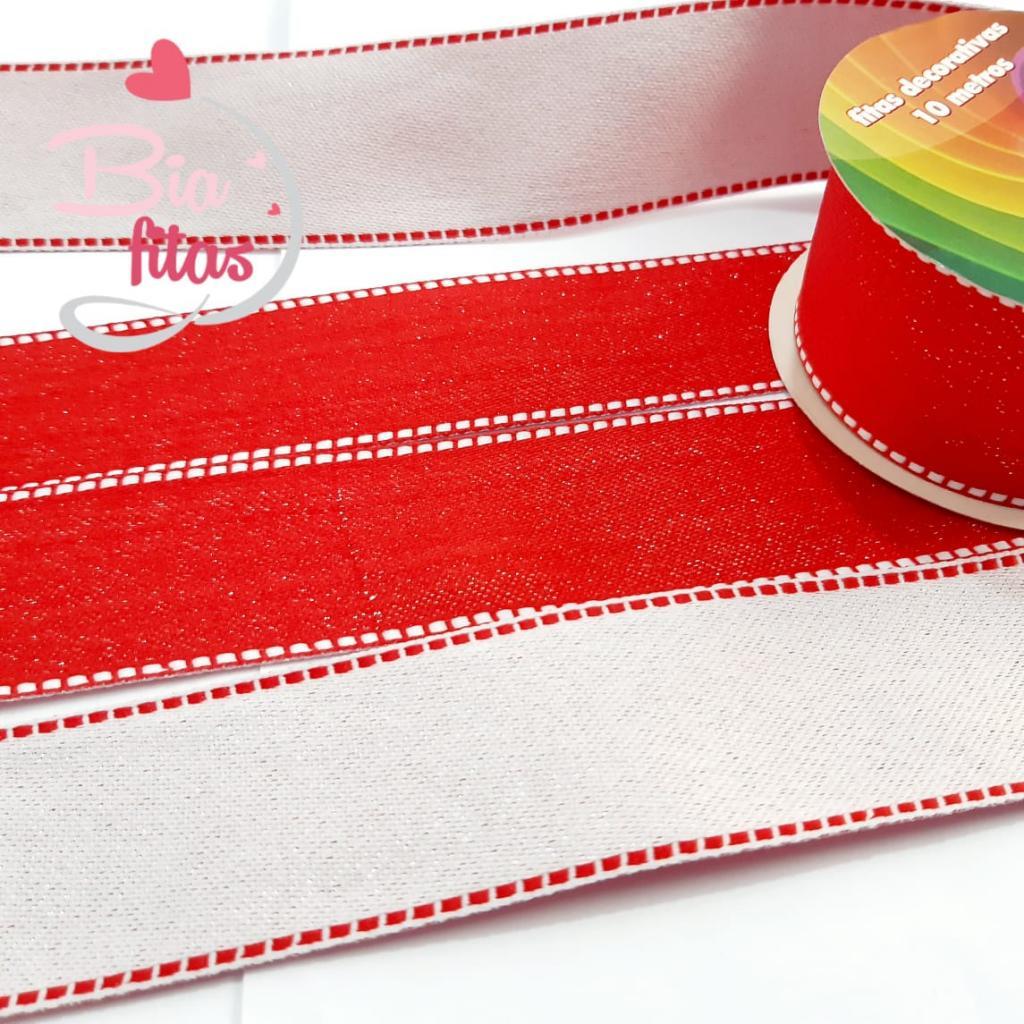 Fita de Gorgorão Sinimbú Tecido Vermelho Glitter Pesponto 38 - 02