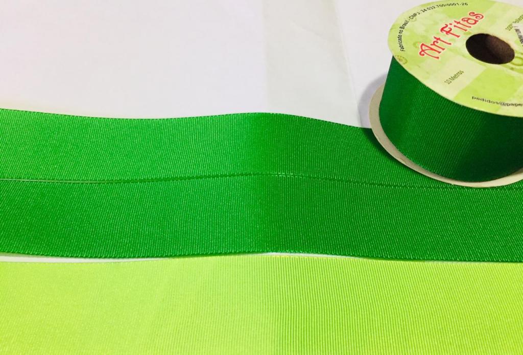 Fita de Gorgurão Art Fitas Dupla Face Verde / Limão 38 - 10