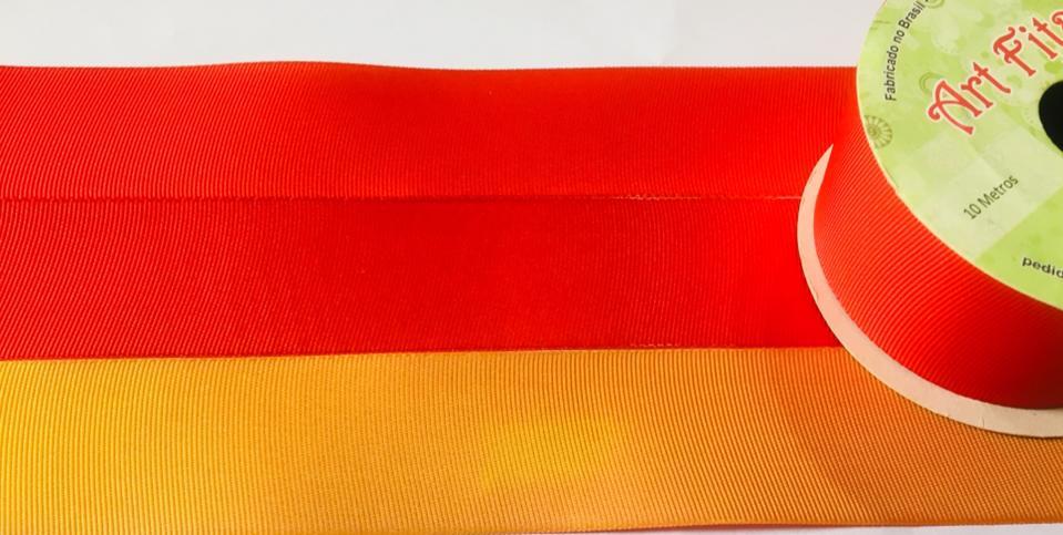 Fita de Gorgurão Art Fitas Dupla Vermelha / Laranja 38 - F09