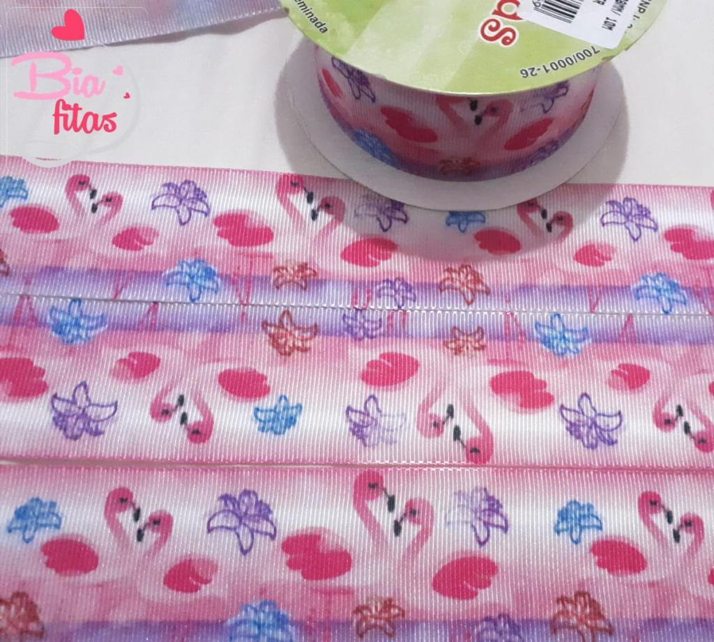 Fita de Gorgurão Art Fitas Flamingos 38 - 388
