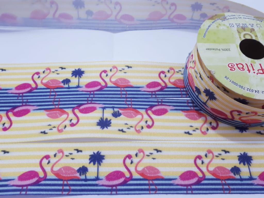 Fita de Gorgurão Art Fitas Flamingos 38 - 681