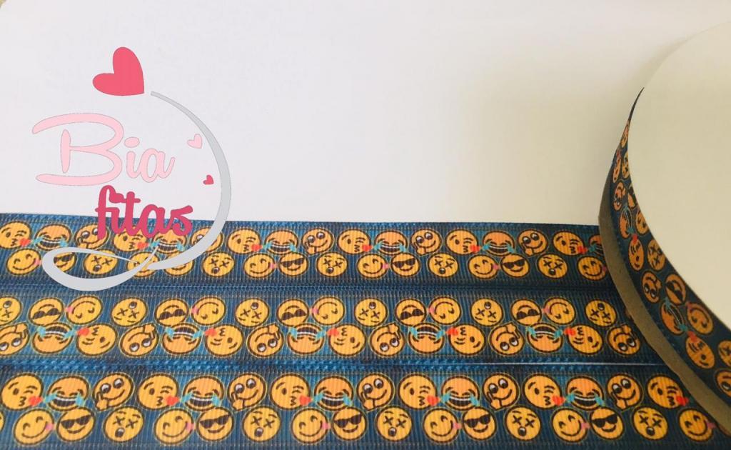 Fita de Gorgurão Emojis Jeans 22 - 2 metros