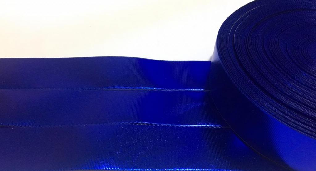 Fita de Gorgurão Espelhada / holográfica Azul 38
