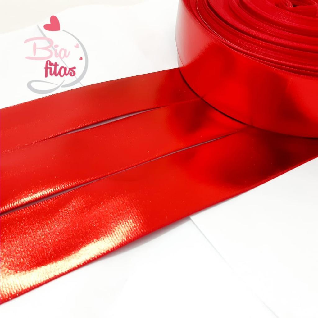Fita de Gorgurão Espelhada / holográfica Vermelha 38