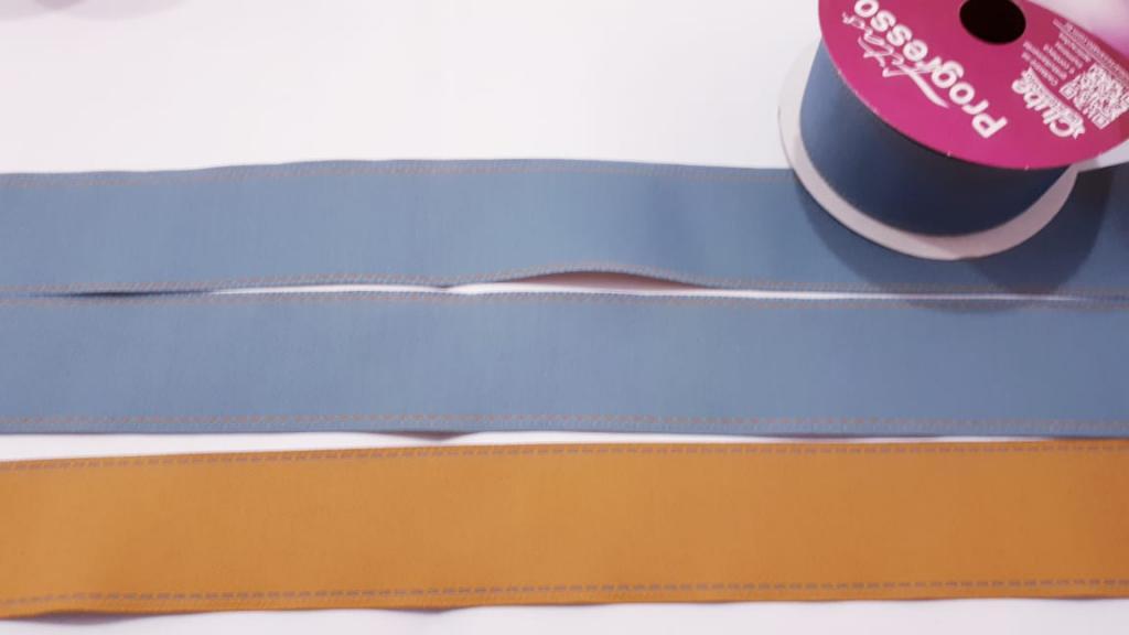 Fita de Jeans Pesponto Progresso Mostarda/ Jeans Claro 37 - 02