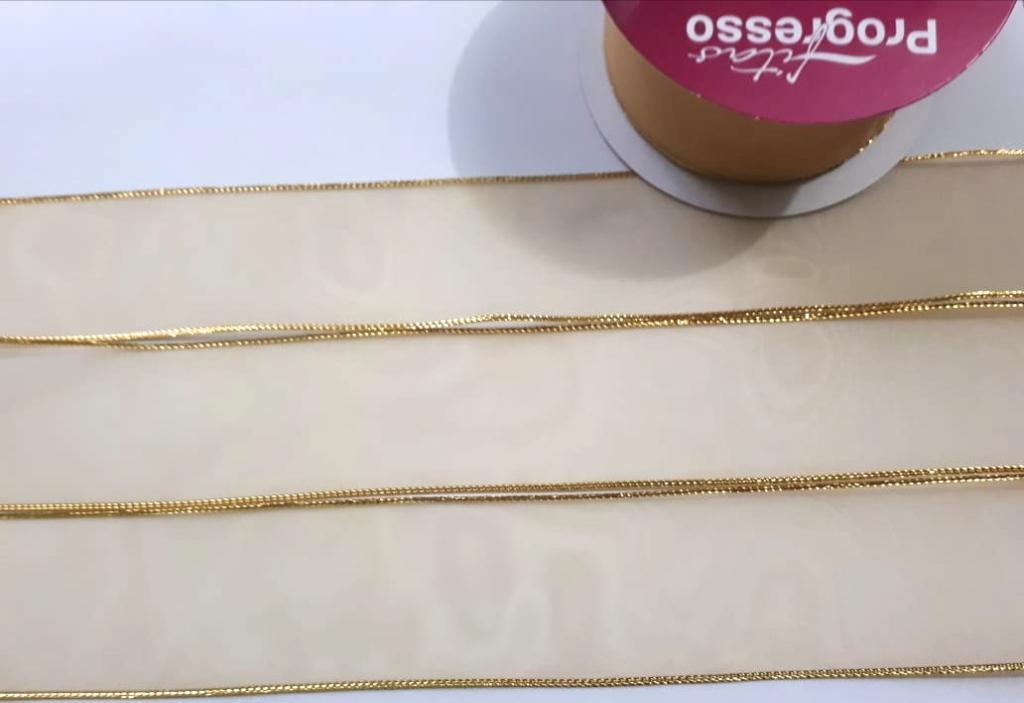 Fita de Organza Progresso com borda Lurex Dourada