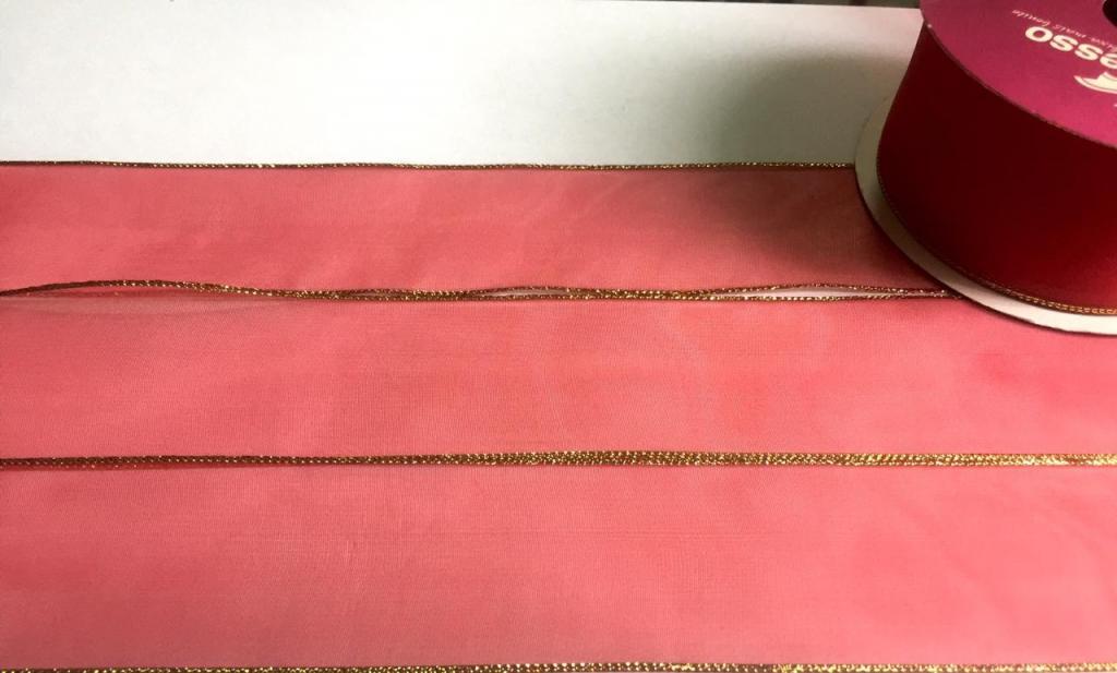 Fita de Organza Progresso com borda Lurex Vermelho