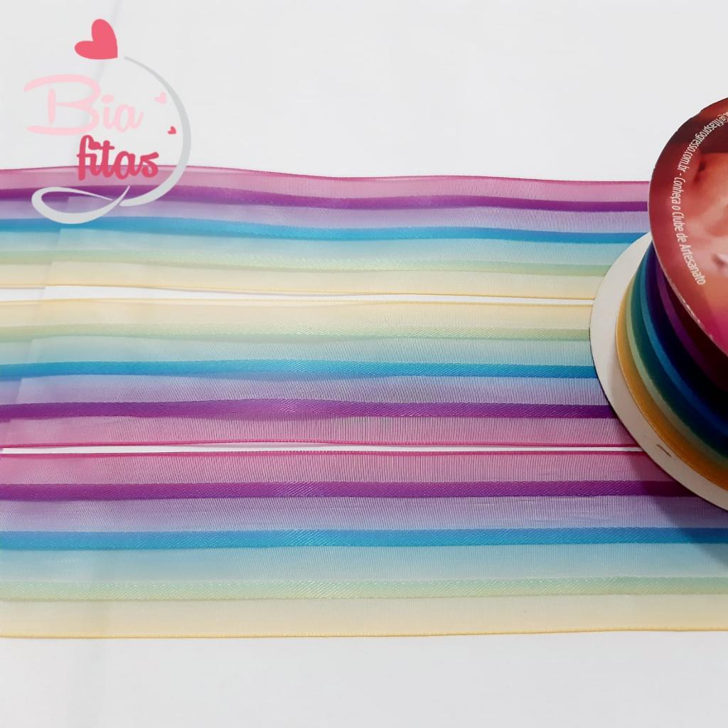 Fita de Organza Progresso Multicolor 38 - 03
