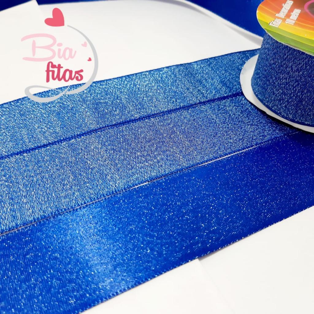 Fita de  Sinimbú Cetim com Glitter 38 - Azul Escuro 07