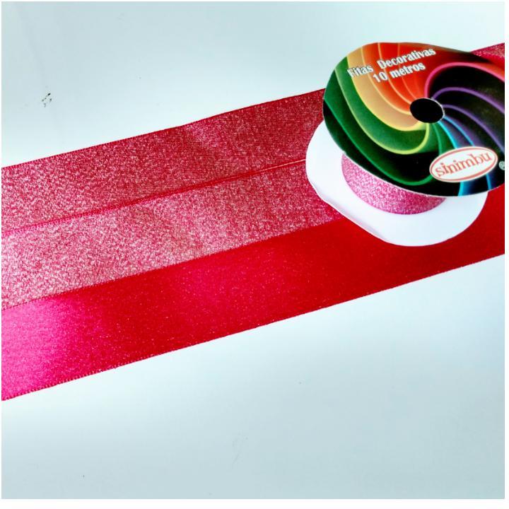 Fita de  Sinimbú Cetim com Glitter 38 - Pink 05