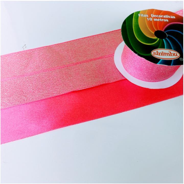 Fita de  Sinimbú Cetim com Glitter 38 - Rosa Chiclete 19