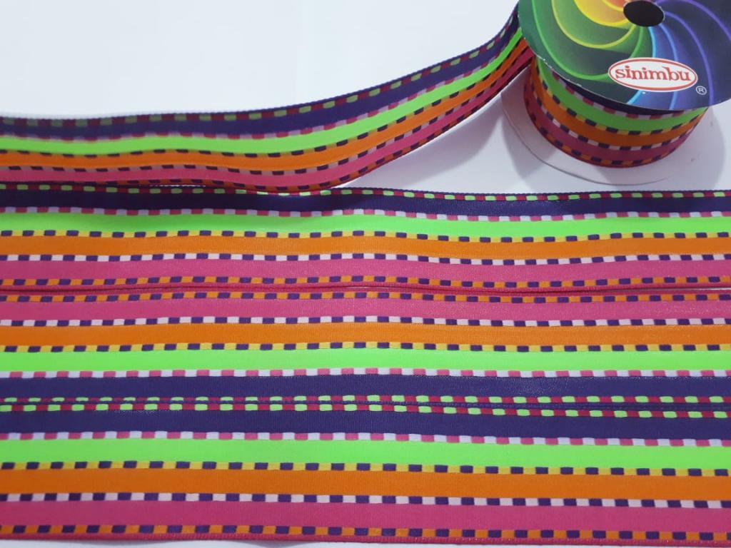 Fita de Tecido  Sinimbú Pespontada Colorida 38  - 05