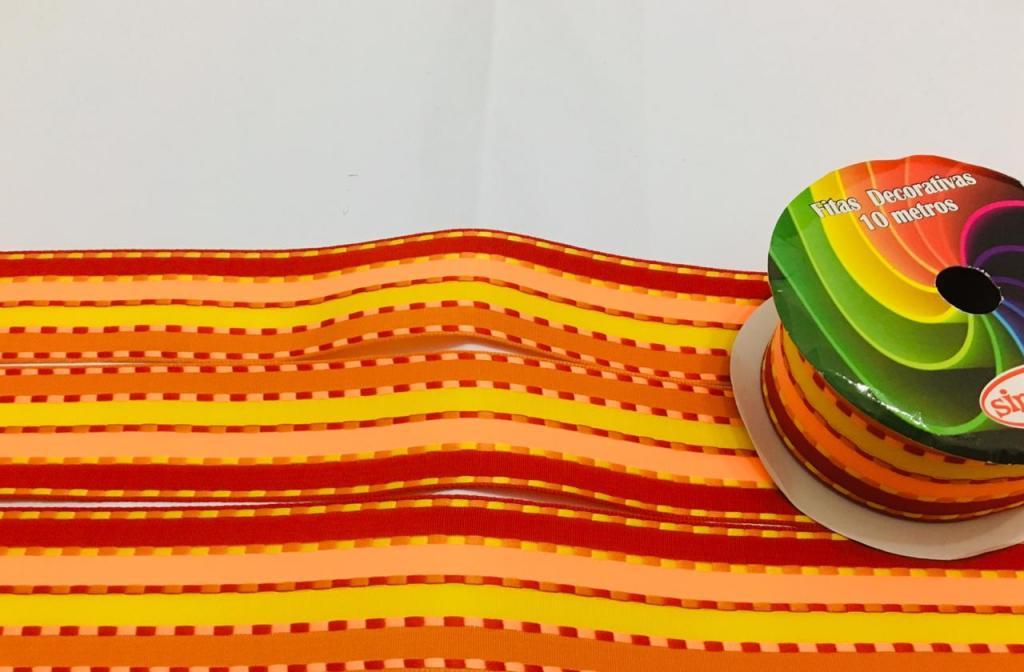 Fita de Tecido  Sinimbú Pespontada Colorida 38  - 06