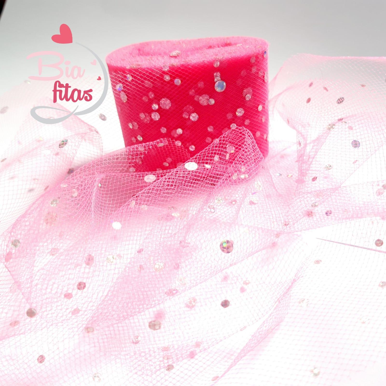 Fita de Tule Rosa Pink com brilho 50- 5metros