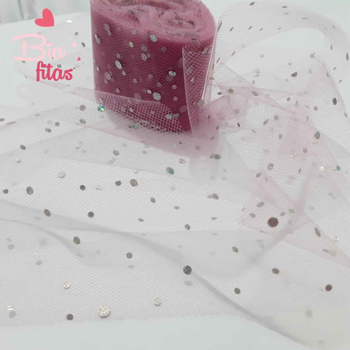 Fita de Tule Rose com brilho 50- 5metros
