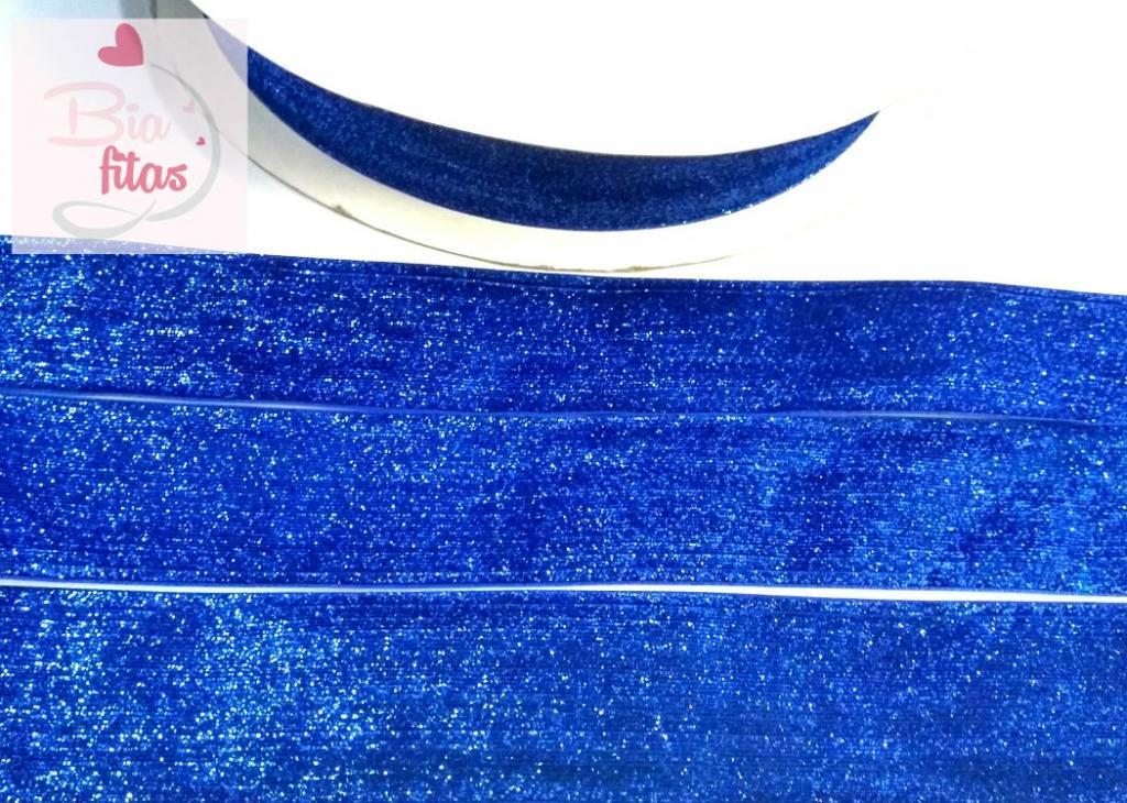 Fita de Veludo com Glitter Azul