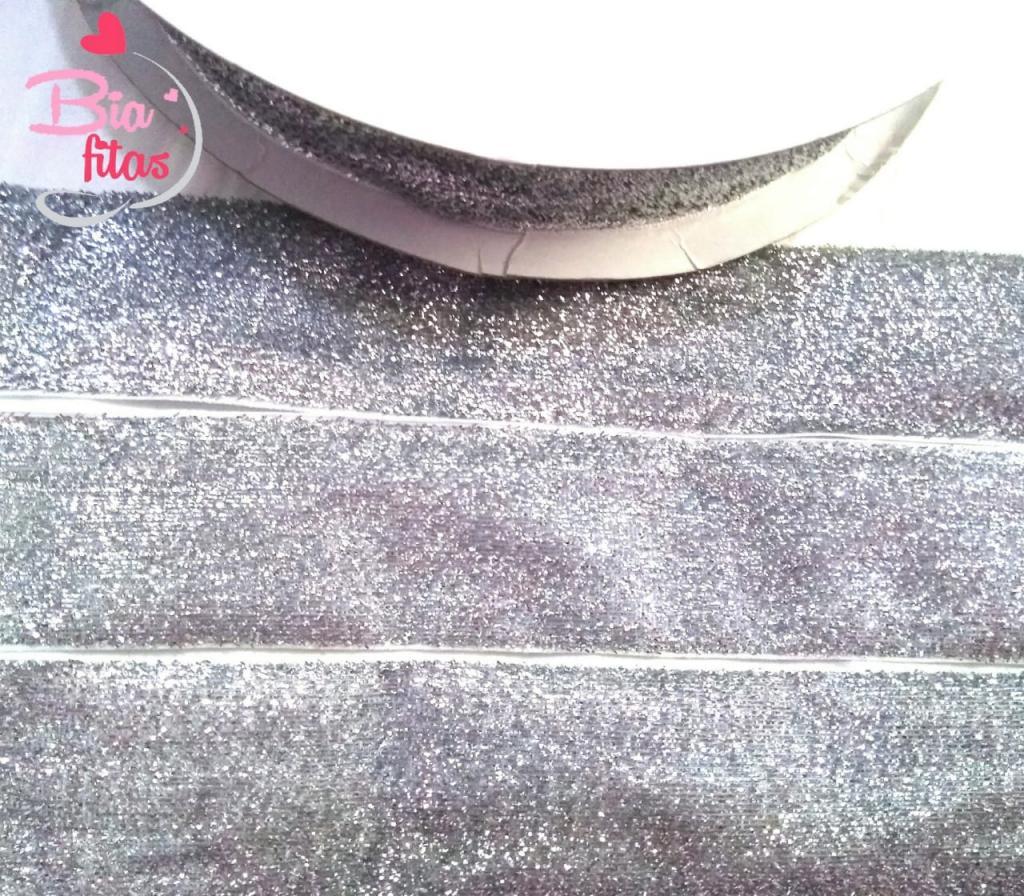 Fita de Veludo com Glitter Prata
