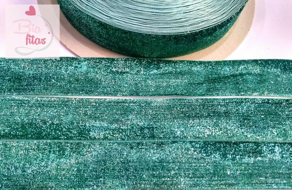 Fita de Veludo com Glitter Verde