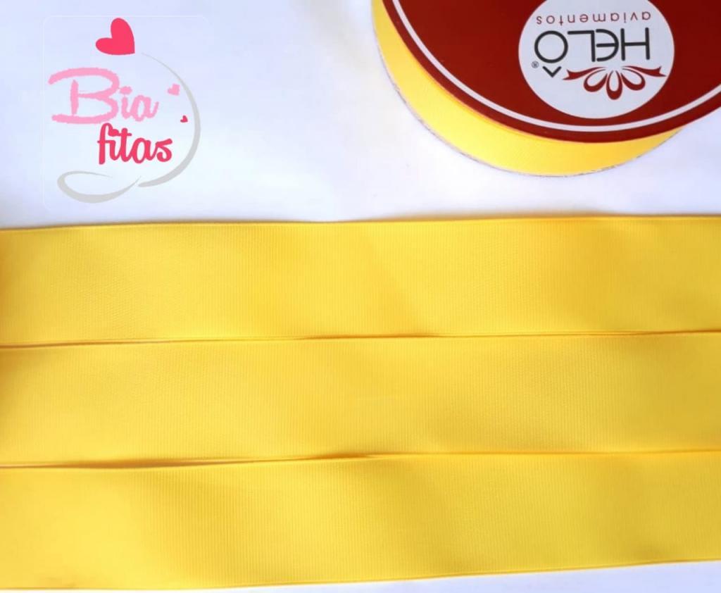 Fita Gorgurão Lisa Hêlo Amarelo 15