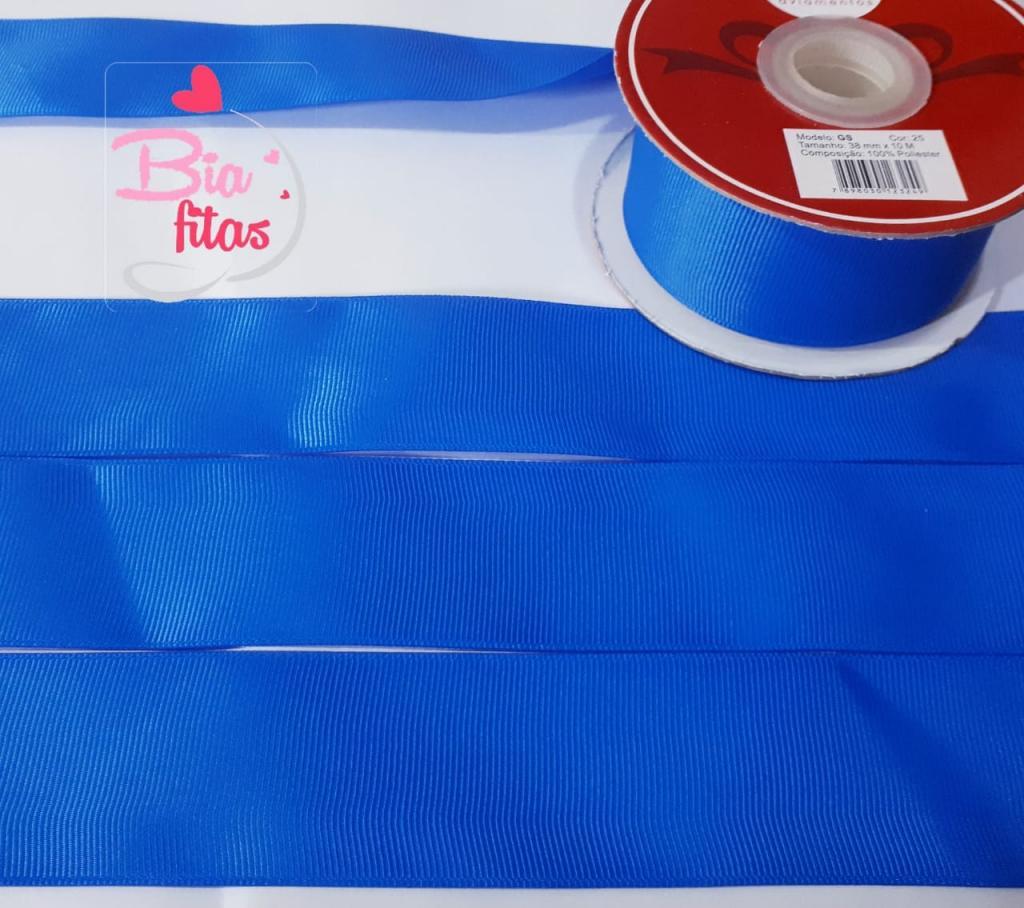 Fita Gorgurão Lisa Hêlo Azul 25