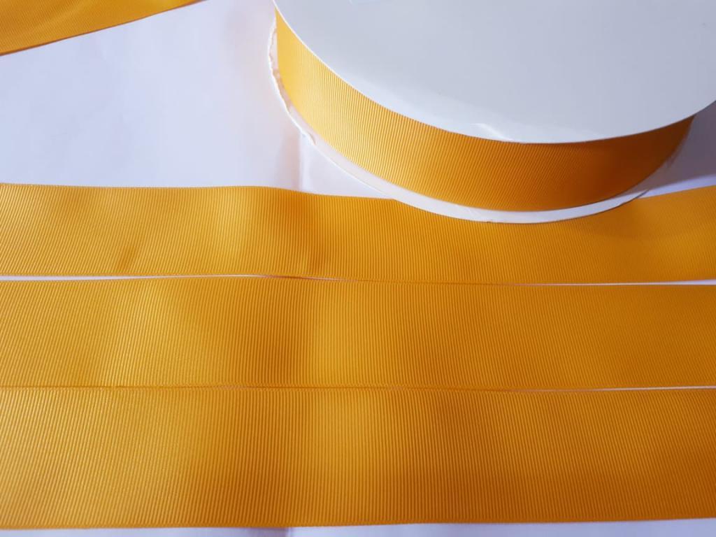 Fita Gorgurão Lisa Sanding Amarelo 136 - 38mm n09