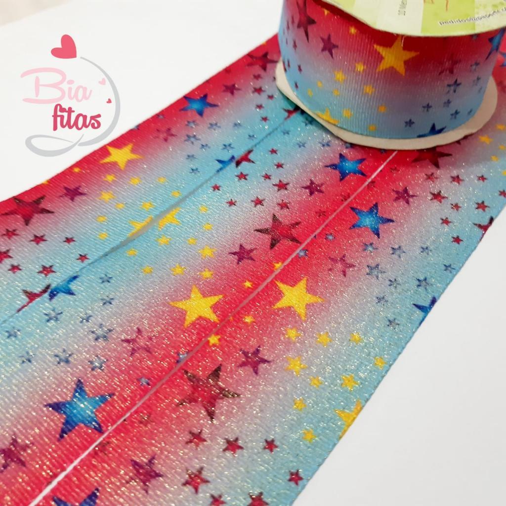 Gorgurão com Lurex Art Fitas Estrelas 38 - 015 - 5 metros