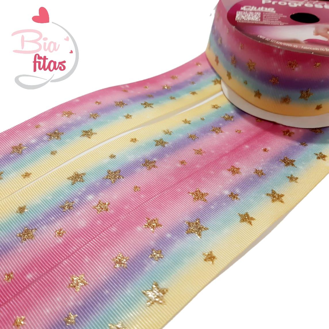 Gorgurão Progresso com Glitter Estrela - TG004 - 10 metros