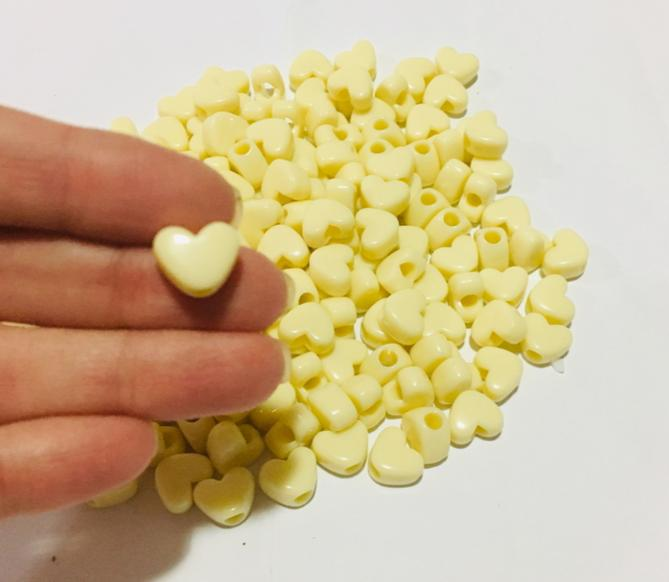 Miçanga para Pulseiras Coração Marfim (20g)