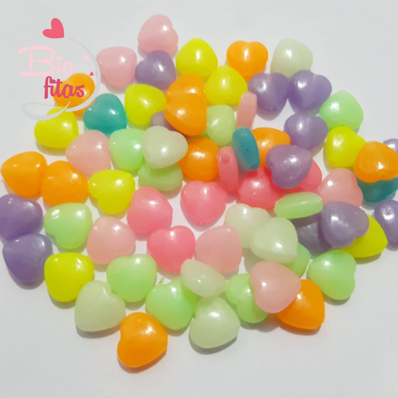 Miçanga Para Pulseiras Coração que Brilham no Escuro (20G)