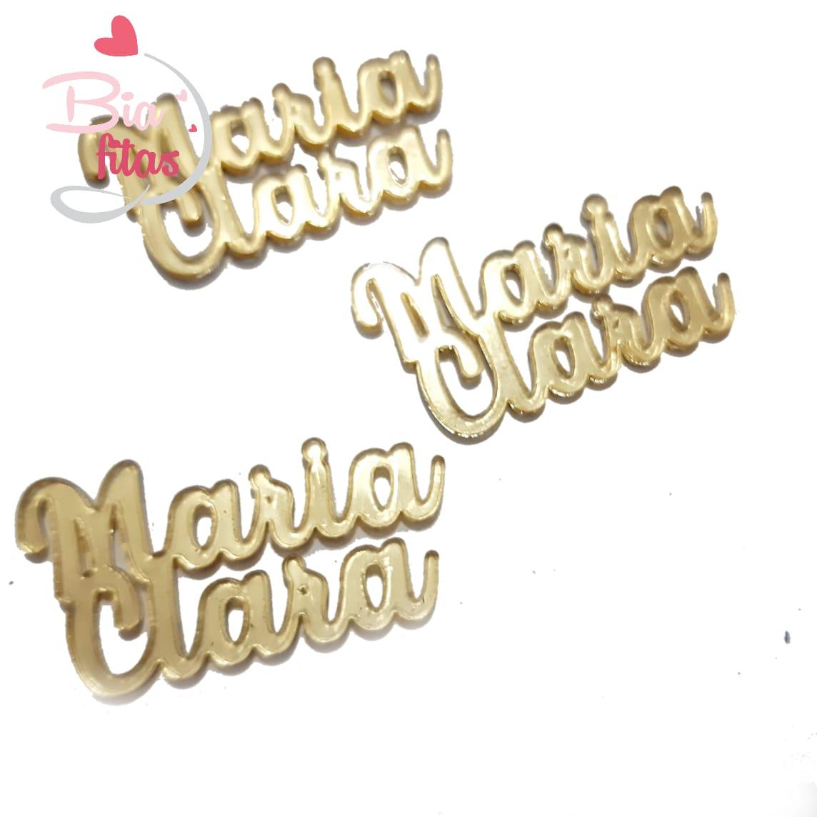 Nome Composto em Acrilico Dourado Espelhado - Maria Clara