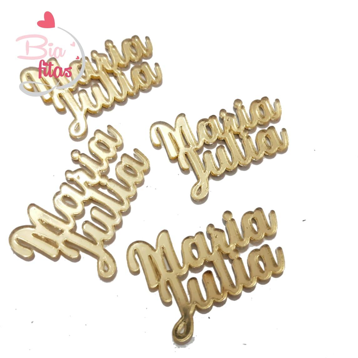 Nome Composto em Acrilico Dourado Espelhado - Maria Julia