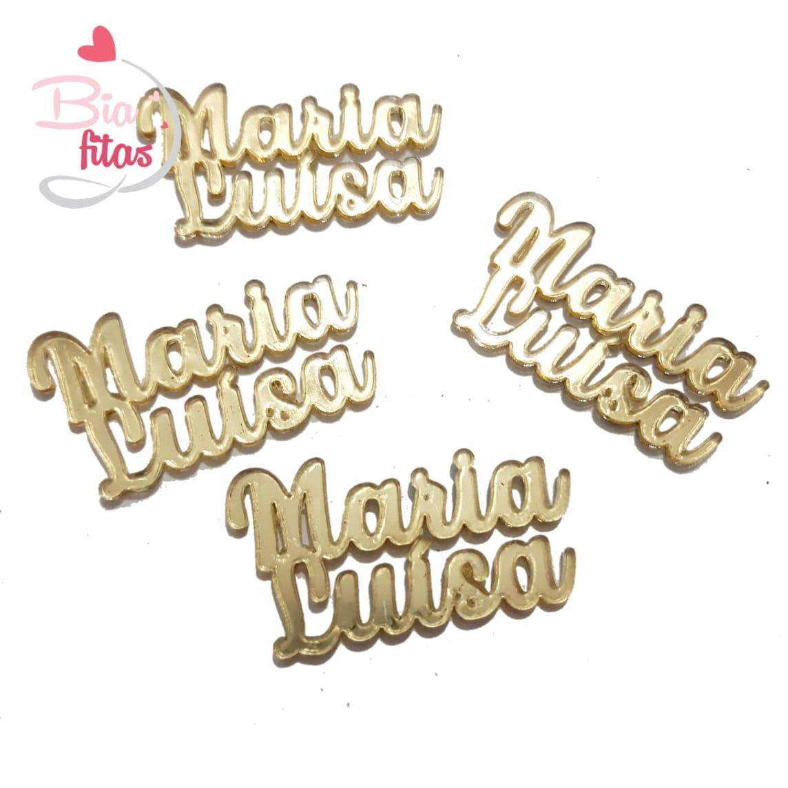 Nome Composto em Acrilico Dourado Espelhado - Maria Luisa