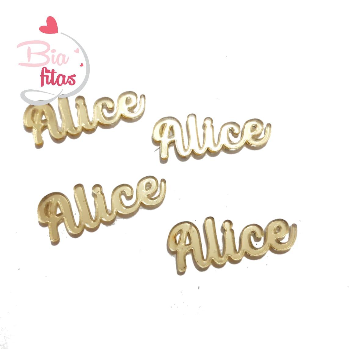 Nome Simples em Acrilico Dourado Espelhado - Alice