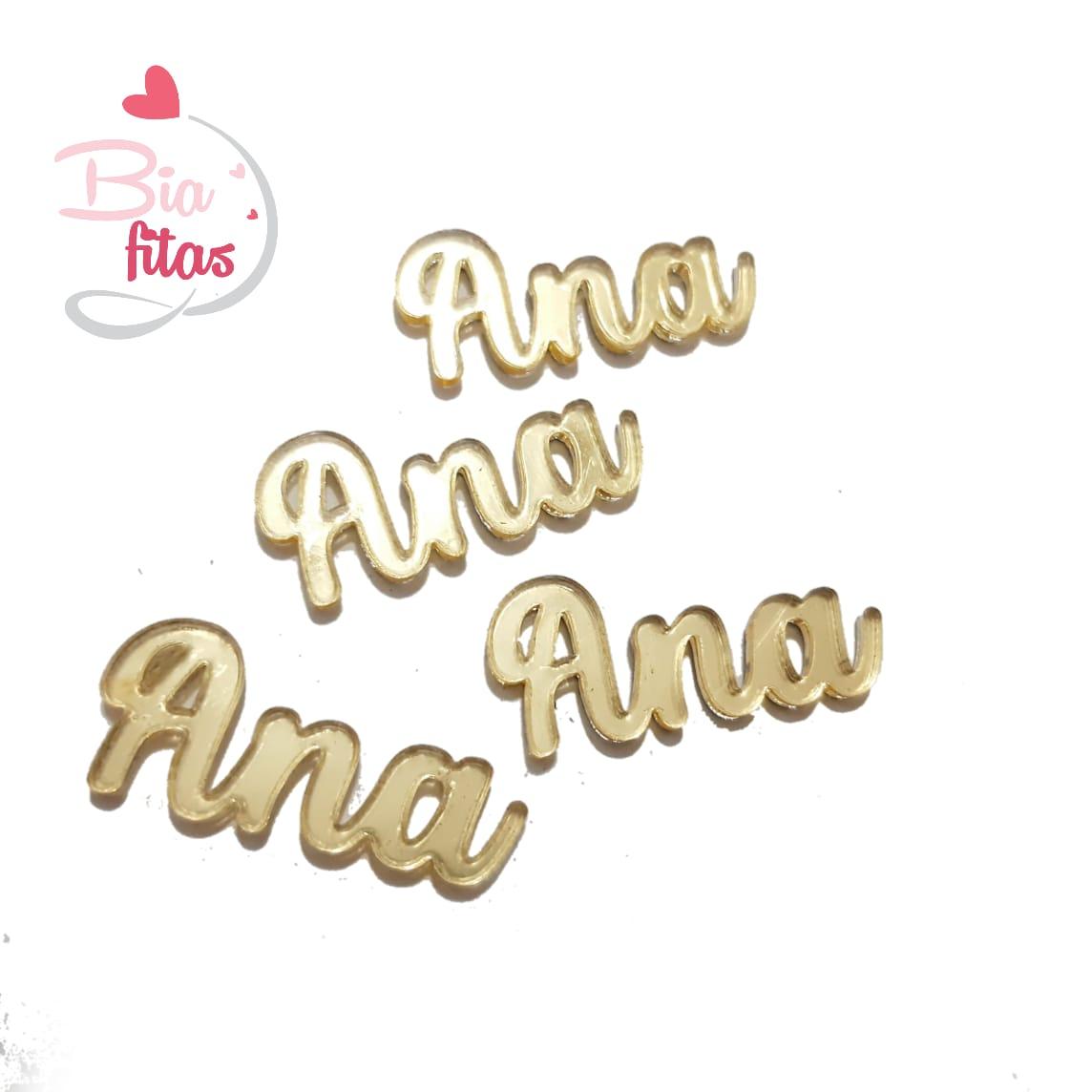 Nome Simples em Acrilico Dourado Espelhado - Ana
