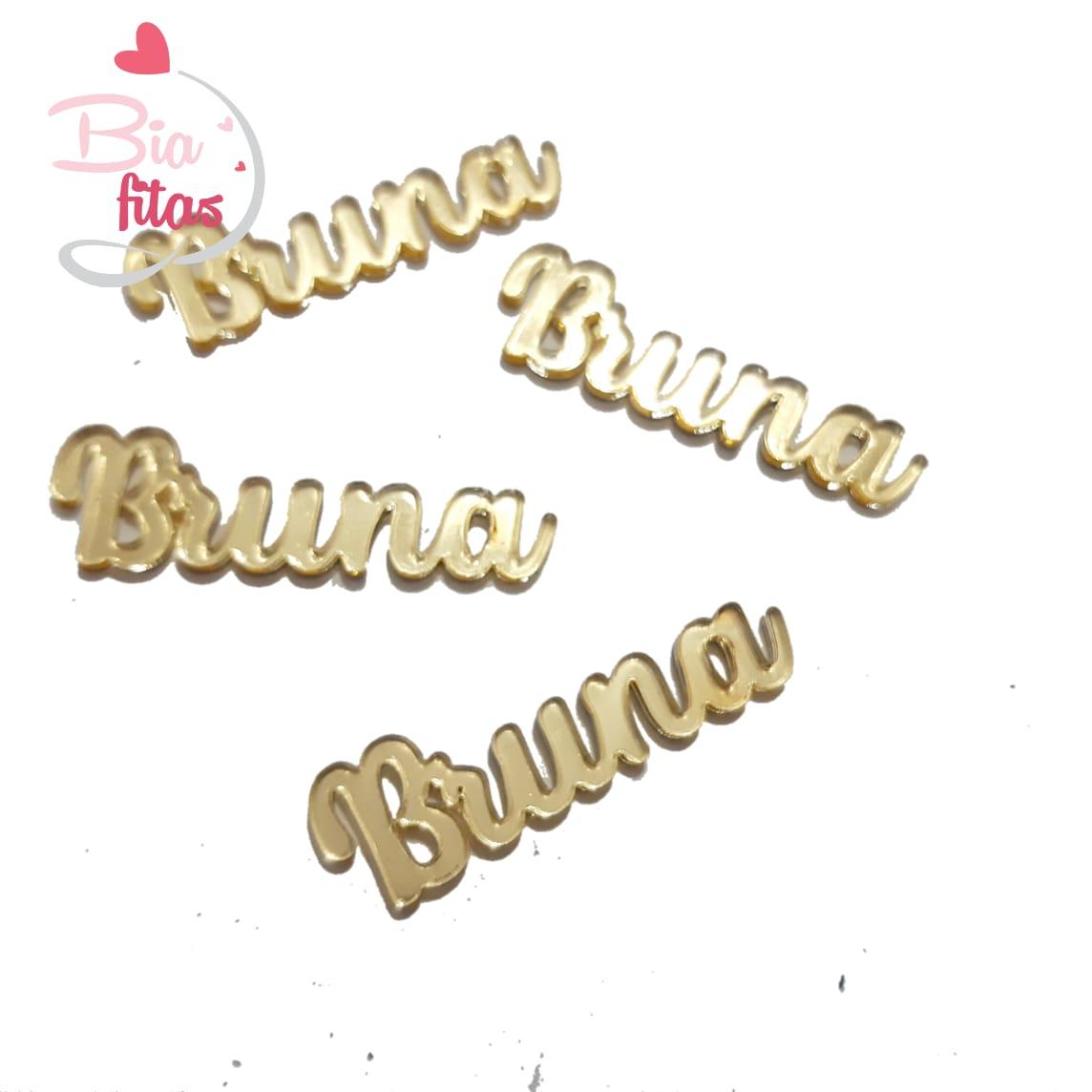 Nome Simples em Acrilico Dourado Espelhado - Bruna