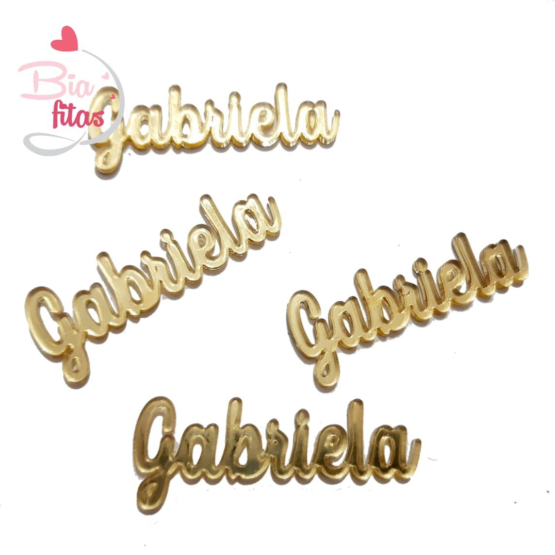 Nome Simples em Acrilico Dourado Espelhado - Gabriela