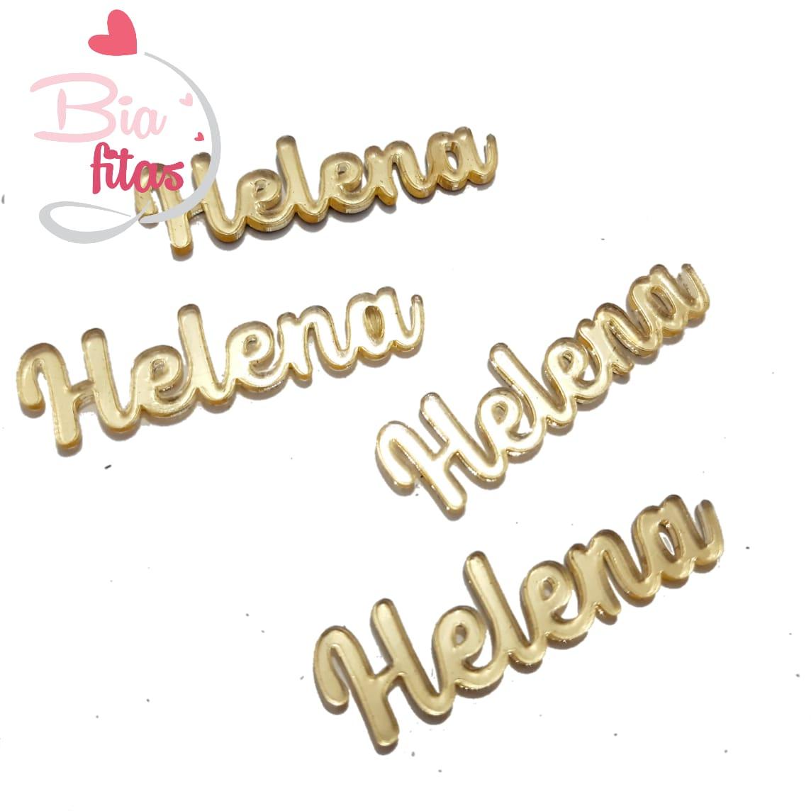 Nome Simples em Acrilico Dourado Espelhado - Helena