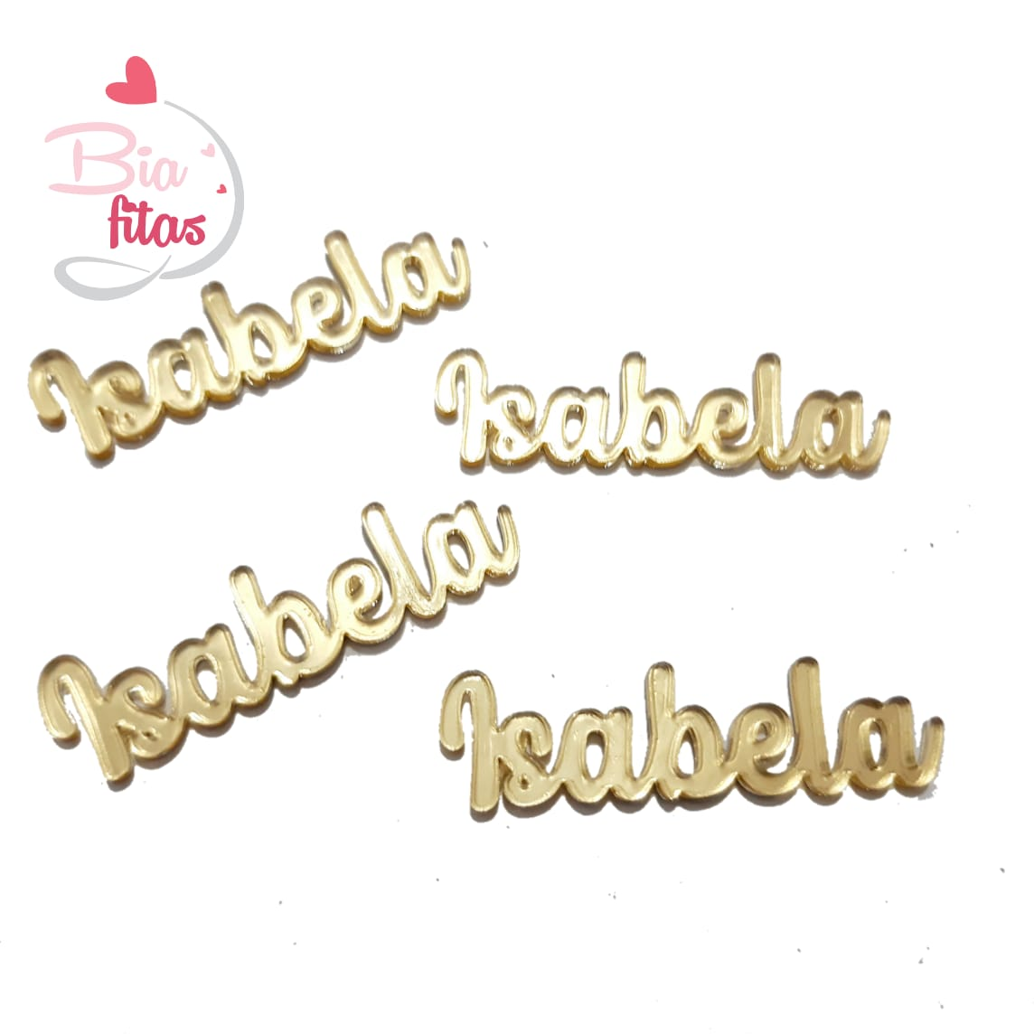 Nome Simples em Acrilico Dourado Espelhado - Isabela
