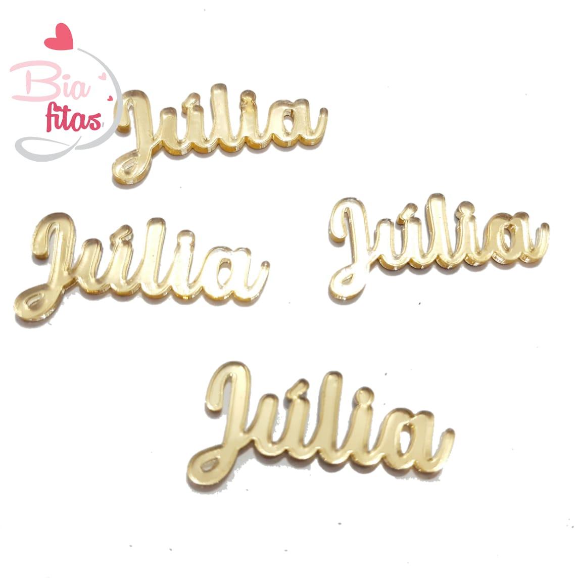 Nome Simples em Acrilico Dourado Espelhado - Júlia